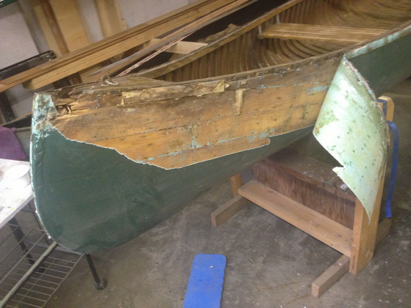 removing fiberglass from a wooden canoe